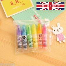 6 mini surligneur fluo stylo set kawaii animal papeterie école livraison gratuite au royaume-uni