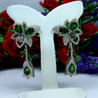 NATURAL GREEN CHROME DIOPSIDE EMERALD & CZ EARRINGS 925 STERLING SILVER