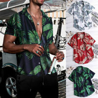 Men's Fashion Summer Casual Dress Shirt Men Floral Short Sleeve Shirts Tops Tee