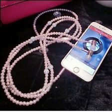 Bling Pearl Necklace Earphones In-ear Headphone With Mic Hi-Fi Wired Stereo WHT