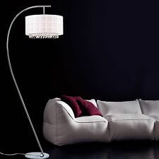 Arc Floor Lamp White Modern Contemporary Chrome Finish Home Accent Light