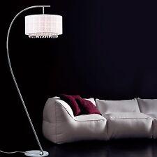 Arc Floor Lamp White Modern Contemporary Chrome Finish Home Accent Light