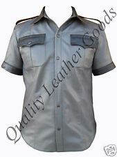 GENUINE NAPPA LEATHER HIGHWAY PATROL POLICE MILITARY UNIFORM STYLE SHIRT BLUF