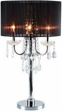 """Black Fabric Shade Chrome Base Faux Crystal Touch on Switch Table Lamp 29.5""""H"""