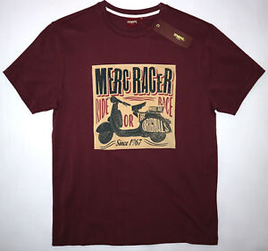 MERC MENS RACER GRAPHIC TEE SHIRT IN WINE SIZE M NWT