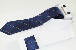 Mens Navy & Maroon Checkered Matching Neck Tie, Pocket Square, Cuff Links and