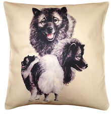 More details for keeshond group cotton cushion cover - cream or white cover - perfect gift