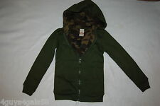 Boys Hooded Sweat Jacket ARMY GREEN Waffle Lining Camo Print ZIP UP  L 12-14