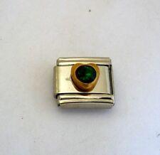 9mm Classic Size Italian Charm Small Heart Birthstone May Emerald