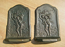 """Antique Bronze Art Nouveau """"The Storm"""" Romantic 3-Dimensional Bookends ©1928"""