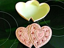 """Hand Painted Pink Ceramic Glass Heart Jewelry or Other Storage monogrammed """"R"""""""
