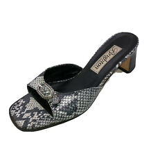 Brighton Womens Size 7.5 M Embossed Faux Snake Skin Slip On Sandals Block Heels