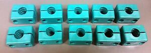 """Polypropylene Pipe/Tubes Clamps Green Insulators OD 1"""" (Lot of 10 pairs)"""