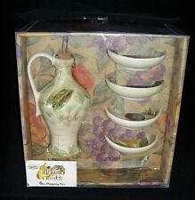 TABLETOPS UNLIMITED Hand Painted MIXED FRUITS 5 pc Dipping Set NIB NEW!