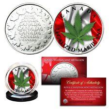 CANADA LEGALIZED MARIJUANA Colorized RCM Royal Canadian Mint Medallion Pot Coin