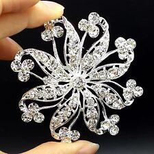 """Big 2.83"""" Alloy Sliver Rhinestone Crystal Brooch Pin Women DIY Wedding Bouquet"""