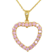 14k Gold Plated Heart Love Pink Crystal Pendant Necklace 19""