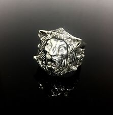 Men's Heavy Lion Ring In Sterling Silver With White Diamonds By Sacred Angels