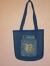 New Handmade  Denim Tote Bag w/ Red lining & Bull Dog Pocket
