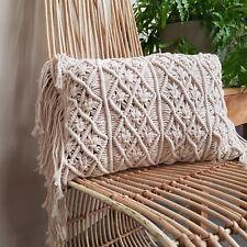 Macrame Oblong Cushion Cover 55cm x 33cm with Long Fringe Cotton