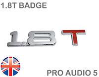 1.8T Chrome & Red Car Badge - 1.8 Litre Turbo - Audi A3 TT VW Saab SEAT TDI - UK