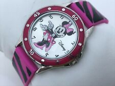 Disney Minnie Mouse Accutime Women Watch Pink Black Analog Wrist Watch