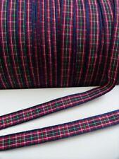 10 MM Check Tartan Navy / Red / Green Ribbon Trims- Christmas- 5 Yards-T399