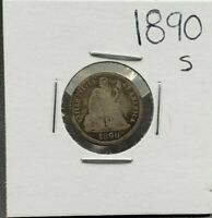 1890 S Liberty Seated Silver Dime Coin G Good Condition Full Date