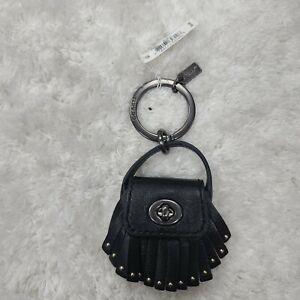 Coach black Keychain NWT mini black fringe purse