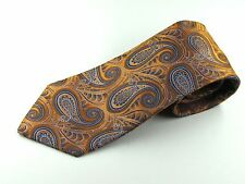 PAUL FREDRICK MENS SILK NECK TIE ORANGE BLUE PAISLEY NECKTIE