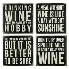 "WINE Wooden Box Sign Coaster Set of 4, by Primitives by Kathy, 4"" x 4"" Each"