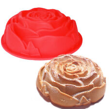 "New listing 9.5"" Round Big Rose Flower Silicone Mold Cake Pan Baking Decorating Dessert"