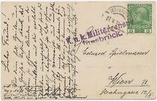 """ÖSTERREICH ORTSSTEMPEL """"K..u.K. Militärzensur / Innsbruck."""" viol. Zensur-L2 1915"""