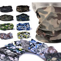 Multi Function Camo Tube Scarf Headband Face Mask Warmer Bandana Headwear ~