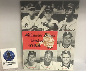 vintage Milwaukee Braves 1964 yearbook hof Hank Aaron Good Condition