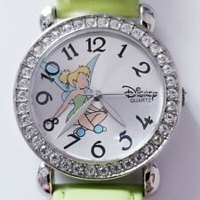 Tinkerbell Disney Parks Watch Rhinestones Green Leather Band Tinker Bell Nds Bat