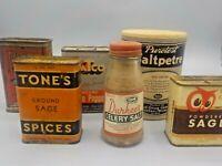 6 Vintage Lot Spice Tins Bottle Red Owl Pure Spices Durkees Puretest
