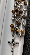 Mens Steel Rosary Silver Tiger Eye Bead Ball Cross Crucifix Pendant Necklace 4mm