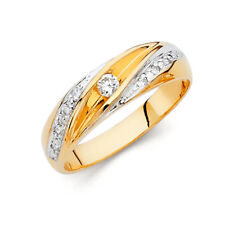 Men 14k 2 Tone Gold Solitaire Round Cz Wedding Anniversary Engagement Ring Band
