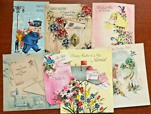 Lot of 7 Vintage Easter Greeting Cards Mail and Postman Themed