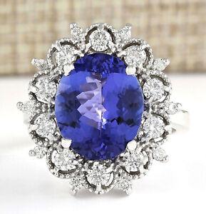 6.44 Carat Natural Tanzanite 14K Solid White Gold Luxury Diamond Ring