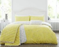 Cotton Rich Honey & Grey Duvet Cover Set Hip Sprig in Double Bed Size Reversible