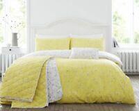 Cotton Rich Honey & Grey Duvet Cover Set Hip Sprig in Single Bed Size Reversible