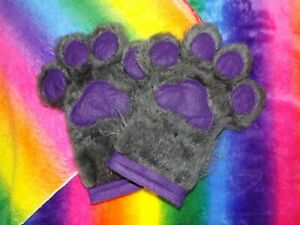 Fursuit Hand Paws Dark Grey Fur and Purple Paw Pads - - Made to order