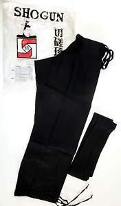 Shogun black kung-fu trousers/pants(traditional ankle tie-ups)& sash