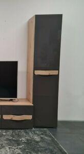 1 Door Single Wardrobe/Cupboard-Grey Gloss/Oak Sonoma colour.THIENE. BRAND NEW.