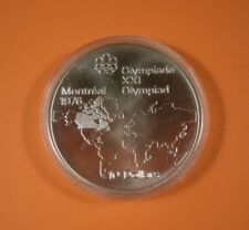 1973 Canadian Silver $10 1976 MONTREAL OLYMPICS WORLD MAP COIN - Unc