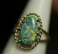 AUSTRALIAN SOLID BLACK OPAL EXQUISITE RING SET IN 18k SOLID GOLD -opal_digger-