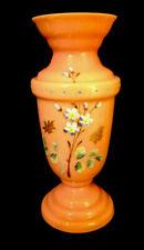 Antique Bristol Pink Vase White Cased Blown Glass Enamel Flowers Hand Painted