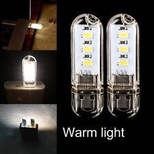 2x Mini USB 3 LED Bright Night Light Gadgets for Car PC Laptop Reading Lamp